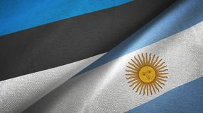 Estonia and Argentina two flags textile cloth, fabric texture. Estonia and Argentina flags together textile cloth, fabric texture stock illustration