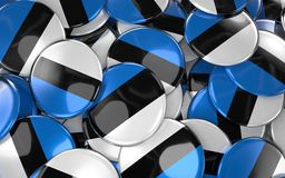 Estonia Badges Background - Pile of Estonian Flag Buttons. 3D Rendering Stock Photos