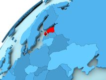 Estonia on blue globe. Estonia in red on blue model of political globe. 3D illustration Stock Image
