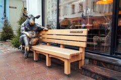 Free Estonia. Bull On The Bench Near The Restaurant `Goodwin`. January 2, 2018 Royalty Free Stock Image - 127593236