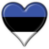 Estonia button flag heart shape Stock Image