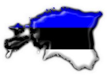 Estonia button flag map shape Royalty Free Stock Photos