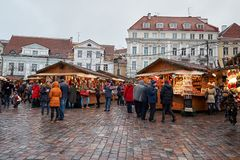 Estonia. Christmas Market in the Old Town. January 2, 2018 stock photos