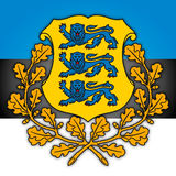 Estonia coat of arms and flag Stock Photo
