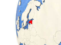Estonia on 3D globe. Map of Estonia on globe with watery blue oceans and landmass with visible country borders. 3D illustration Royalty Free Stock Photo