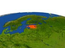 Estonia en rojo de la órbita ilustración del vector