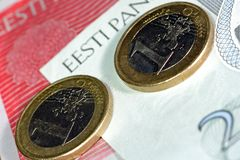 Estonia and the Euro. Estonian crowns will turn into Euro Royalty Free Stock Photos
