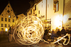 Estonia: Fire show in Tallinn Stock Photography