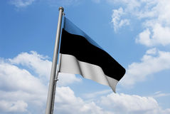 Estonia Flag with Clouds Stock Photos