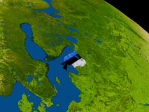 Estonia with flag on Earth Stock Image