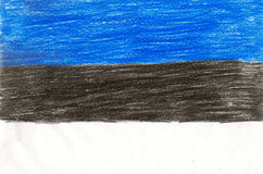 Estonia flag, pencil drawing illustration kid style photo Stock Image