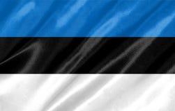 Estonia Flag. With waving on satin texture stock image