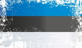 estonia flagga Rynkiga smutsiga fläckar royaltyfri illustrationer