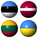 Estonia, Latvia, Lithuania, Ukraine flags Royalty Free Stock Images