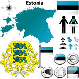 Estonia map. Vector set of Estonia country shape with flags, buttons and icons isolated on white background Stock Photos