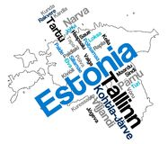 Estonia map and cities. Estonia map and words cloud with larger cities vector illustration