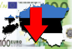 Estonia map on  euro money background, red arrow down Royalty Free Stock Photography