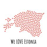 Estonia Map with red hearts - symbol of love. abstract background. Estonia Map with red hearts- symbol of love. abstract background with text We Love Estonia Stock Images