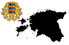 Estonia  map silhouette. Estonia coat of arms, emblem, national symbol. Estonia shield or crest. Estonia  map silhouette isolated on white background. High Royalty Free Stock Image