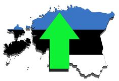Estonia map on  white background, green arrow up Stock Image