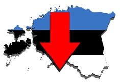 Estonia map on  white background, red arrow down Stock Photos