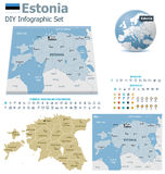Estonia maps with markers Royalty Free Stock Images