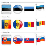 Estonia and Moldova, Slovakia Flag Icon. The world national Icon Royalty Free Stock Image