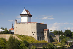 Estonia. Narva. Ancient fortress on border with Russia Stock Images