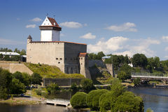 Estonia. Narva. Ancient fortress on border with Russia Royalty Free Stock Image