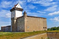 Estonia. Narva. Ancient fortress.Cityscape in a sunny day Royalty Free Stock Image