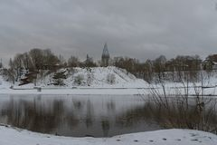 Winter on riverside in Estonia, Narva town. Royalty Free Stock Photo