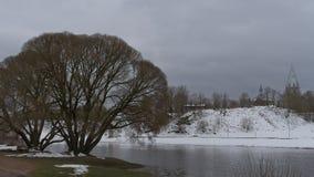 Winter on riverside in Estonia, Narva town. Stock Photography