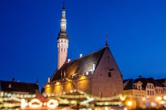 It is Estonia oldest Christmas Market with a very long history dating back to 1441 Stock Photos