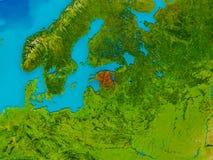 Estonia on physical map Stock Photo