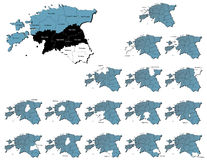 Estonia provinces maps Stock Photography