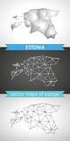 Estonia set of grey and silver mosaic 3d polygonal maps Stock Images