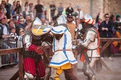 ESTONIA, TALLINN - 4 DE JUNIO DE 2016: Torneo que lucha de Tallinn de la espada histórica internacional vieja de la taza imagen de archivo