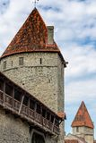 ESTONIA, TALLINN - JUNE 26, 2015: View of fortress towers royalty free stock photography