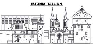 Estonia, Tallinn line skyline vector illustration. Estonia, Tallinn linear cityscape with famous landmarks, city sights Royalty Free Stock Photography