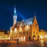 estonia tallinn Stad Hall Square - Raekoja Plats berömd landmark royaltyfria foton