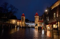Estonia. Viru Gate in the Old Town of Tallinn at night. January 2, 2018 royalty free stock photos