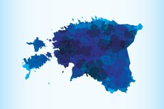 Estonia watercolor map vector illustration of blue color on light background using paint brush in paper page. Estonia watercolor map vector illustration of blue vector illustration