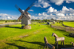 Estonia. A wooden windmill in Angla, Saaremaa island, Estonia Stock Images