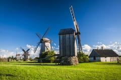 Estonia. A wooden windmill in Angla, Saaremaa island, Estonia stock image