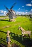 Estonia. A wooden windmill in Angla, Saaremaa island, Estonia royalty free stock image