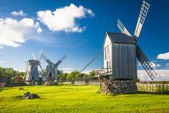 Estonia. A wooden windmill in Angla, Saaremaa island, Estonia royalty free stock photo