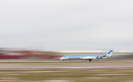 Estonian Air airplane at runway stock image