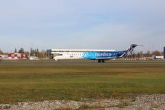 Estonian airline Nordica royalty free stock photos