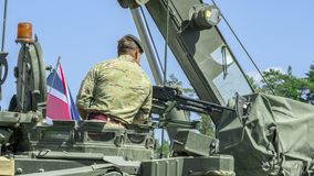 NATO military equipment and soldiers stock photo