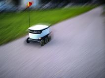 Estonian delivery robots. Cyber-couriers royalty free stock photos